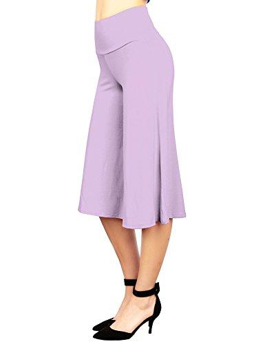 WB876 Womens Knit Culottes Pants L Lilac