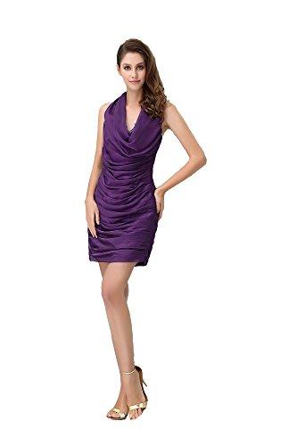 VogueZone009 Womens Halter Chiffon Pongee Full Dress with Drape, Purple, 22W