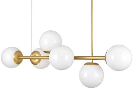 Caserti Mid Century Modern 6 Light Pendant Lighting Satin Brass with Milk Glass Globes Hanging DNA Chandelier Light Fixture LL-P672-3JB