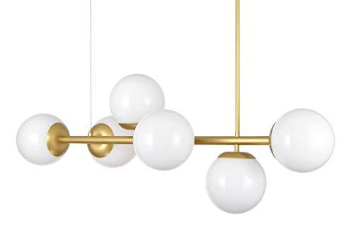 Caserti Mid Century Modern 6 Light Pendant Lighting | Satin Brass with Milk Glass Globes Hanging DNA Chandelier Light Fixture LL-P672-3JB