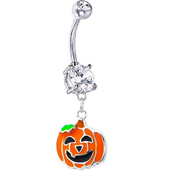 Body Candy Stainless Steel Happy JackoLantern Belly Button Ring with Dangle]()