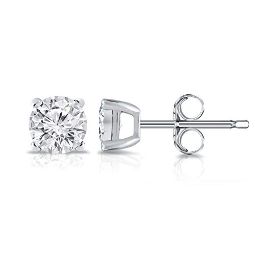 Color Si2 Clarity Lab - Diamond Wish 14K White Gold Round Lab Created Diamond Stud Earrings (0.15 cttw, G-H Color, SI2-I1 Clarity) 4-Prong set, Push Back