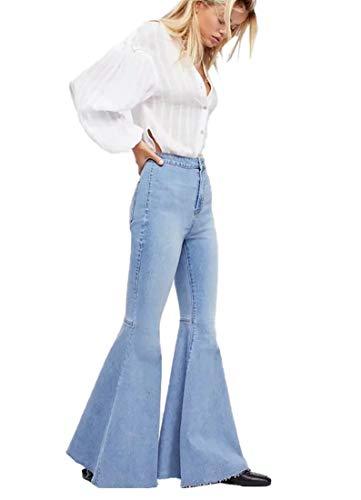 Jofemuho Women High Waist Vintage Fitted Denim Jeans Bell Bottom Light Blue XS ()
