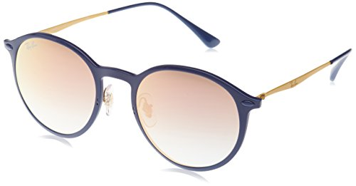Ray-Ban Men's Light Ray Non-Polarized Iridium Round Sunglasses, Blue, 49 - Glasses Ray Ray Ban Light