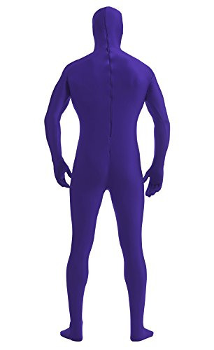 Ensnovo Mens Full Body Open Face Lycra Spandex Zentai Mask Suit Costume DarkPurple, XXL by Ensnovo (Image #4)