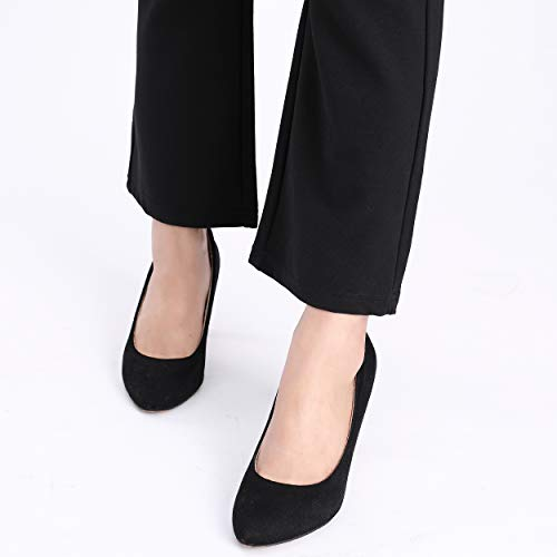 a3805b90e3f68 Foucome Womens Maternity Bootcut Stretch Career Dress Pants Work Office Over -Bump Capris Black