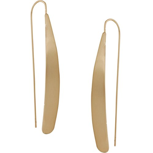 Humble Chic Curved Flat Bar Dangles - Metallic Long Linear Tear-Drop Matte Polished Threader Earrings, Matte Gold-Tone