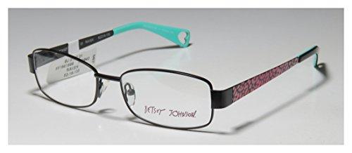 (Betsey Johnson Mischief Womens/Ladies Designer Full-rim Spring Hinges Stunning Hip In Style Eyeglasses/Eyewear (52-16-135, Black/Pink Cheetah Print))