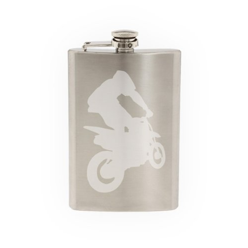 - Extreme Sports #2 -Dirt Bike Motocross Offroad Racing - Etched 8 Oz Stainless Steel Flask