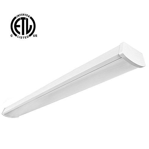 Hykolity 4ft 40W LED Garage Shop Light Wraparound Flushmount Commercial Office Ceiling Lamp 2800 Lumens 5000K Daylight White 64w Fluorescent Equivalent - Indoor Ceiling Light Fluorescent Fixture