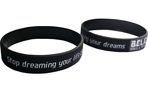 BM&F Bracelet Silicone | Adult Rubber Wristbands | Wrist Bands for Couples Gifts | Rubber Bands for Fitness | Motivational Silicone Wristbands Support, Causes, and Gift (Black) ()