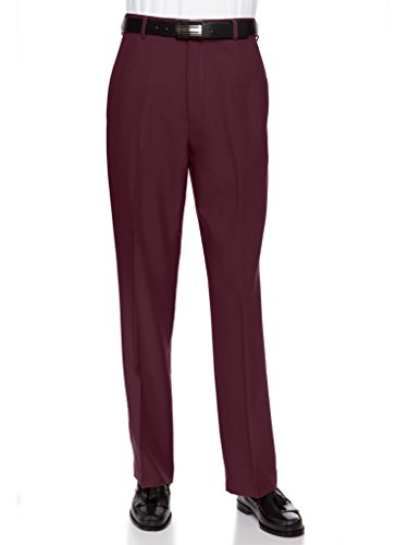 RGM Men's Flat Front Dress Pant Modern Fit - Perfect for Every Day! Burgundy 32W x 30L]()