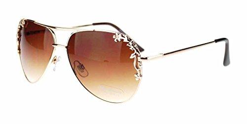 Womens Metal Flower Foliage Trim Tear Drop Designer Fashion Aviator Sunglasses-Gold