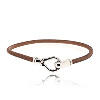 Sovats Hook 925 Sterling Silver Rhodium Plated Charms With Brown Leather Bracelet For Men - Simple, Stylish &Trendy Nickel Free Bracelet