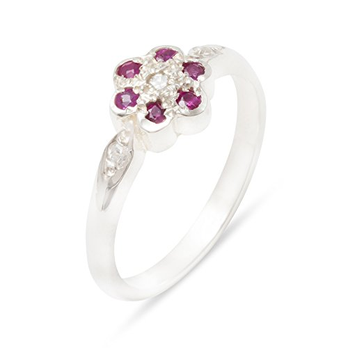 Solid 925 Sterling Silver Genuine Natural Diamond & Ruby Womens Cluster Ring - Size 7.5 (0.05 cttw, H-I Color, I2-I3 Clarity)