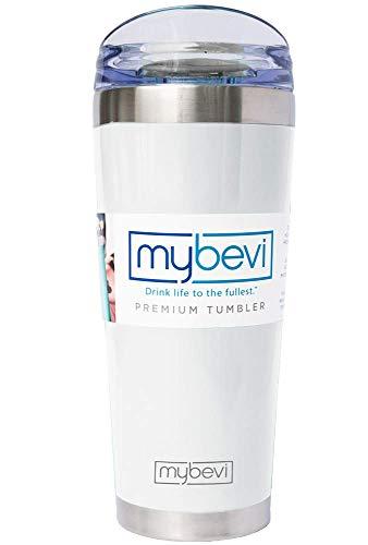 MyBevi Classic Stainless Steel Premium Grade Insulated Travel Tumbler (White Sparkle, 26 oz)
