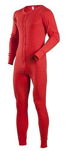 Duofold Suit Union - Indera Men's Cotton 1 x 1 Rib Union Suit, Red, Medium