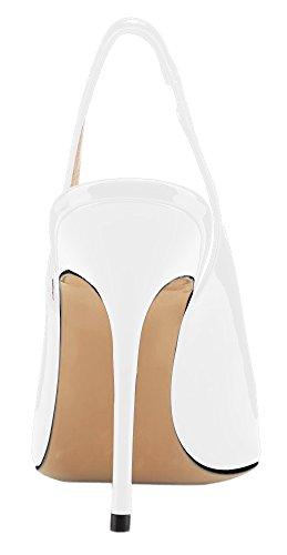 MONICOCO Übergröße High Heels Damenschuhe Lackleder Spitze Zehen Slingback Pumps mit Gummiband Weiß