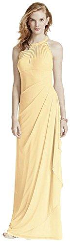- David's Bridal Long Mesh Bridesmaid Dress with Illusion Neckline Style F15662, Canary, 24