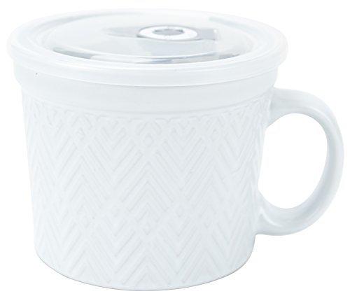 Boston Warehouse 24-Ounce Souper Bowl White Embossed Stoneware Mug with Date Dial Vented Lid