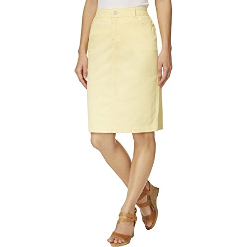 Charter Club Womens Twill Colored Pencil Skirt Yellow (Cotton Twill Pencil Skirt)