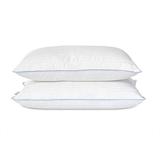 eLuxurySupply Bed Pillow - Premium Down Alternative Sleeping Pillows w/ 100% Cotton Casing Cover - Medium Density Loft for Back and Side Sleepers - Pack of 2 Pillows Standard/Queen Size 20 x 28
