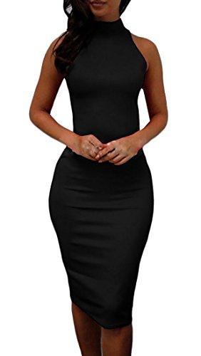 Fit Collar Party Dress Jaycargogo High Sleeveless Slim Bodycon Black Women wZZqES6