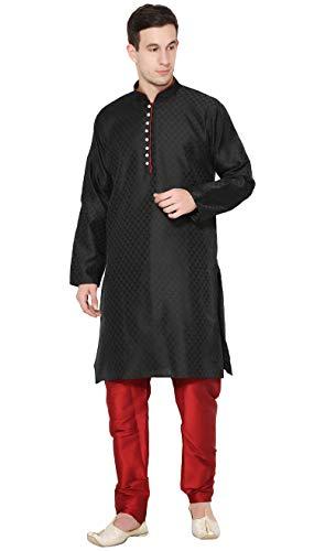 SKAVIJ Men's Tunic Kurta Pajama Set Indian Traditional Dress (Medium, Black)