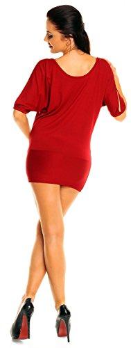 Zeta Ville Jersey camiseta top gipsy con hombros descubiertos para mujer - 221z Carmesí