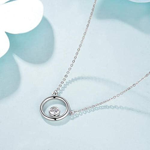 Qings Collier Femme en Argent 925 Sterling Argent//Or Ros/é Rond Pendentif Cadeau de Bijoux pour La F/ête des M/ères