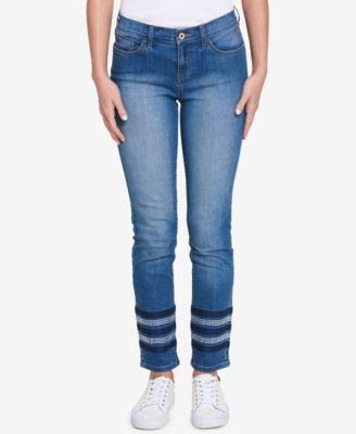 (Tommy Hilfiger Womens Greenwich Denim Mid-Rise Classic Straight Jeans Blue)