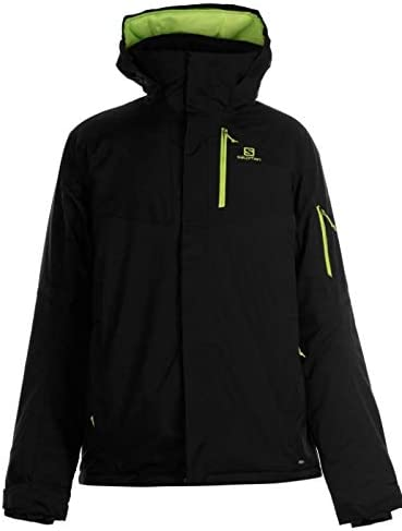 Salomon Men's Ski Jacket Rise Black Yellow Label, Black, S