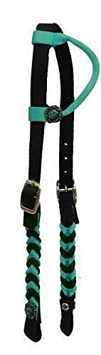 - Crystal Conchos Braided Nylon Horse Simple Barrel Racing 1 Ear Headstall Bridle (Teal)