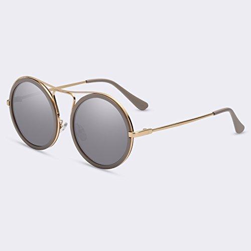 TIANLIANG04 sombras sol redonda Mujeres C03gris mujer sol gafas de reflectora Mujeres C04Mirror degradado UV400 de Vintage Gafas rqR7r