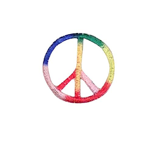 Small Multi-colored Peace Sign Iron on Embroidered Patch