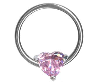 Pink Jeweled Heart Captive Bead Ring-16g-7//16 inch-11mm-Ear Piercing Hoop Body Jewelry
