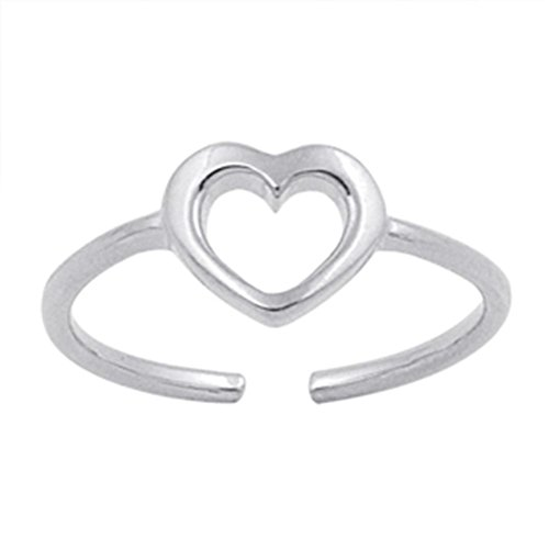 (Adjustable Heart Sterling Silver 925 Toe Ring Beach Jewelry)