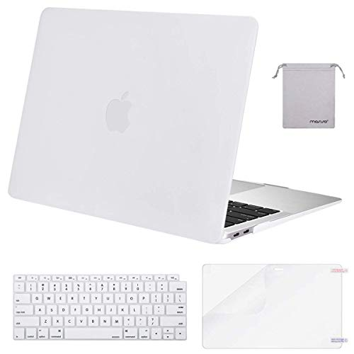 MOSISO MacBook Air 13 inch Case 2019 2018 Release A1932 with Retina Display, Plastic Hard Shell & Keyboard Cover & Screen Protector & Storage Bag Compatible Newly MacBook Air 13, White (White Mac Laptop Case)