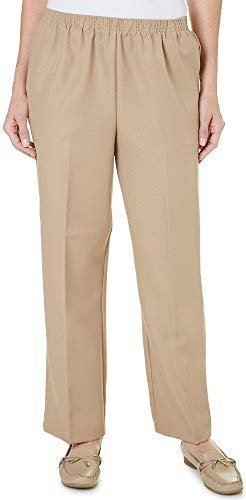 Alfred Dunner Petite Classic Solid Pull On Pants 6 Short Tan