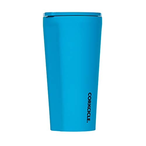 Corkcicle Tumbler - Neon Lights Collection - Triple Insulated Stainless Steel Travel Mug, Neon Blue, 16oz
