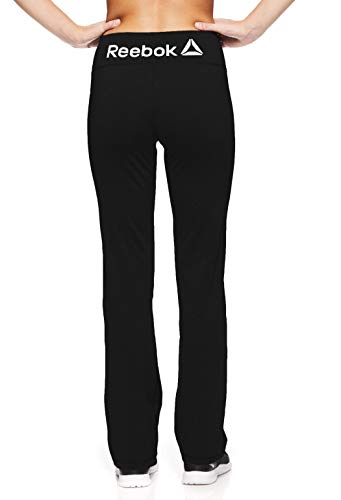 Reebok Women's Lean Running Pants - Straight Leg Workout Bottoms w/Key Pocket - Black, Extra Large ()