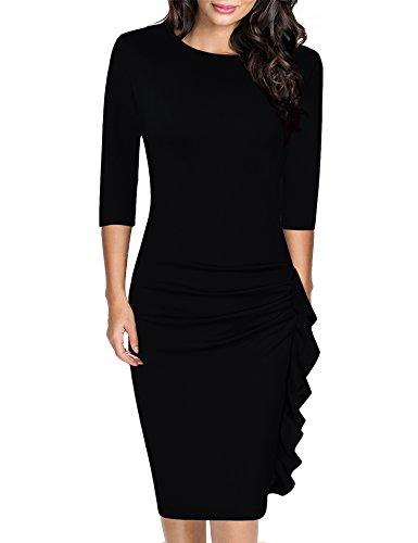 983a5b0d3e HiQueen Women Retro Ruffles Wrap Ruched Slim Work Business Bodycon Pencil  Cocktail Dress