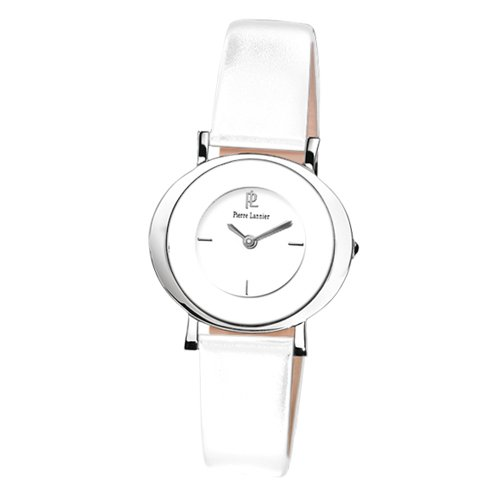 Pierre Lannier Pure Line 189C600 Women's Chrome Analog Quartz Watch with Silver Dial and White Leather Strap