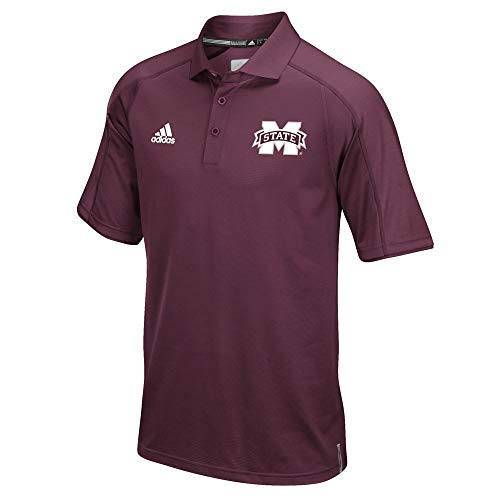- adidas Mississippi State Bulldogs NCAA Men's Sideline Climalite Performance Football Coaches Maroon Polo Shirt (3XL)
