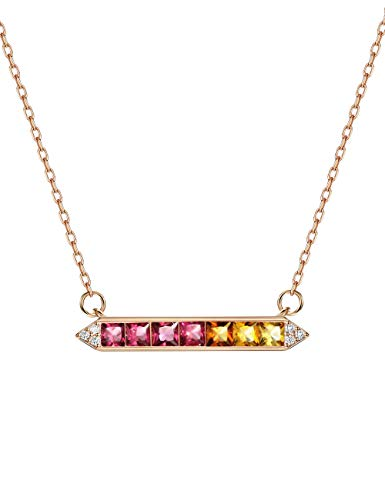 (Mints 18K Rose Gold Plated Bar Rainbow Color Birthstone Ruby Fancy Colored Sapphire Necklace Pendant 16-18