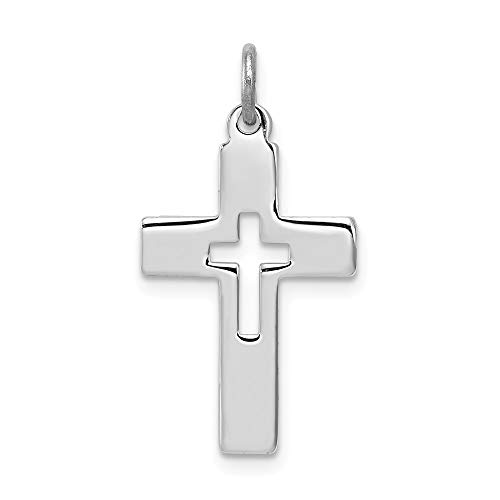 (Jewelry Adviser Charms Sterling Silver Rhodium-plated Cut-out Cross Charm)