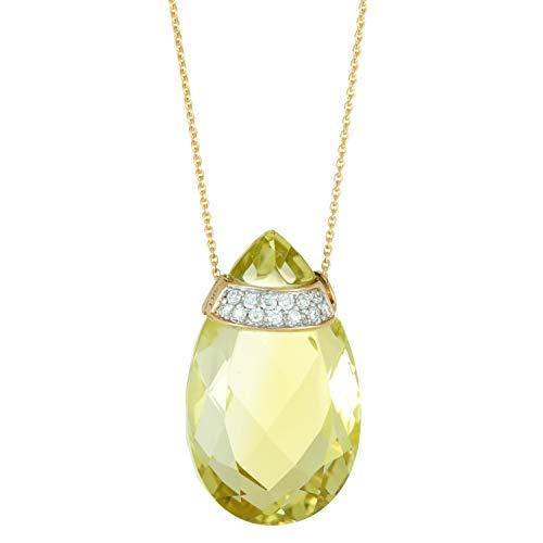 Lavari - 22x13 Pear Shaped Lemon Quartz and .10 Cttw Diamond 14K Yellow Gold Pendant