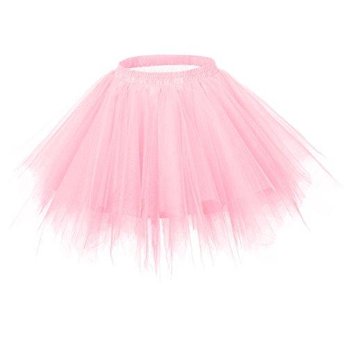 Ellames Women's Vintage 1950s Tutu Petticoat Ballet Bubble Dance Skirt Pink -