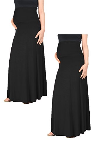 Maternity Long Skirts - Beachcoco Women's Maternity High Waisted Fold Over Maxi Skirt (Large, Black (Pack Of 2))