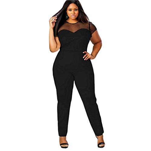 Nihewoo Womens Summer Solid Jumpsuit Loose Short Sleeve Bodysuit Playsuit Elastic Waist Jumpsuits Romper